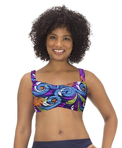 (MZ753T) Mazu Swim Womens Underwire Bandeau Bra Top (16W-24W) in Veruca Paisley Size: 20W Bra Cup Twist Top