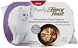 Purina Purely Fancy Feast Natural White Meat Chicken and Shredded Beef Entree Cat Food, 2-Ounce Pouch, Pack of 10
