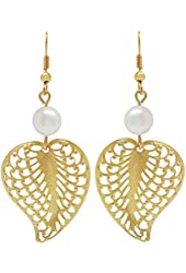 "2 1/4"" Filigree Leaf Earrings with Imitation Pearl, Made in USA!, in Gold Tone"