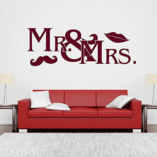 Wandtattoo Mr and Mrs Ehepaar Hochzeit Bart Mund Hipster Wanddesign Wanddekoration Tattoo Design Dekoration ca. 120 x 42 cm schwarz