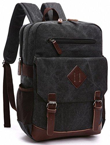 kenox-mens-large-vintage-canvas-backpack-school-laptop-bag-hiking-travel-rucksack-black