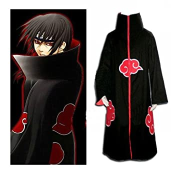 Cool Blood Red Costume Akatsuki Uchiha Itachi Cosplay Coat Red Cloud Cloak (S)