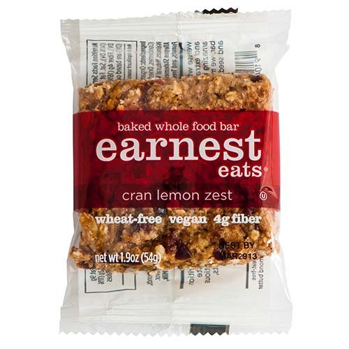 Earnest Eats 100% All-Natural Wheat-Free & Vegan Chewy Baked Energy Bars With Whole Nuts, Fruits, Seeds And Grains - Cran Lemon Zest - (Case Of 12)