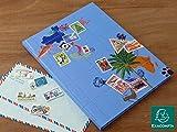 Exacompta レトロかわいい切手帳 世界地図 Lサイズ:ブルー