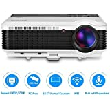 EUG Wireless Projector LED LCD Support Full HD 1080P 720P, WiFi HDMI USB VGA Ready, For Home Theater Video Games...