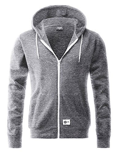 Stone Feather Men's Long Sleeve Cotton Fleece Full-Zip Hoodie Jacket (M, Dark Heather Grey) Dark Heather Grey Medium (Mens Hoodie Side Zip compare prices)