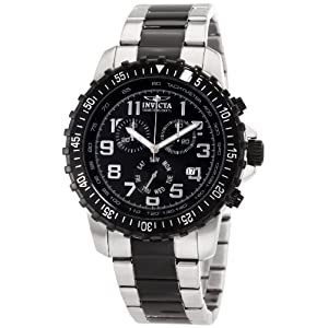 Invicta Men's 1326 Invicta II Chronograph Black Dial Two-Tone Stainless Steel Watch