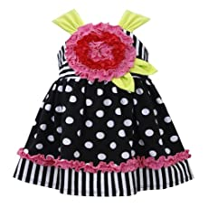 Bonnie Baby Baby-Girls Newborn Dot and Stripe Appliqued Dress, Black/White, 6-9 Months