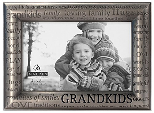 Malden International Designs Modern Pewter Metal Diecast Grandkids Expressions Picture Frame, 4 by 6-Inch