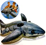 INTEX RIDE ON INFLATABLE SHARK FISH JAWS BEACH SWIMMING POOL AID TOY LILO FLOAT