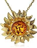 Honey Amber Sterling Silver Sunflower Pendant Necklace,18''
