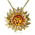 Honey Amber Sterling Silver Gold-Plated Sunflower Pendant Necklace,18""