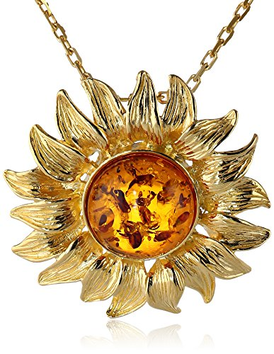 Honey Amber Sterling Silver Gold-Plated Sunflower Pendant Necklace,18''