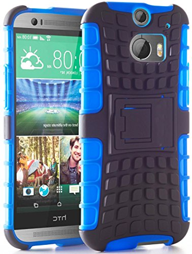 Mylife Earth Blue + Dark Gray {Rugged Design} Two Piece Neo Hybrid (Shockproof Kickstand) Case For The All-New Htc One M8 Android Smartphone - Aka, 2Nd Gen Htc One (External Hard Fit Armor With Built In Kick Stand + Internal Soft Silicone Rubberized Flex