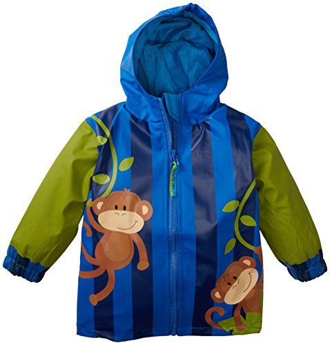 Stephen Joseph Little Boys' Monkey Rain Coat, Blue, 2T