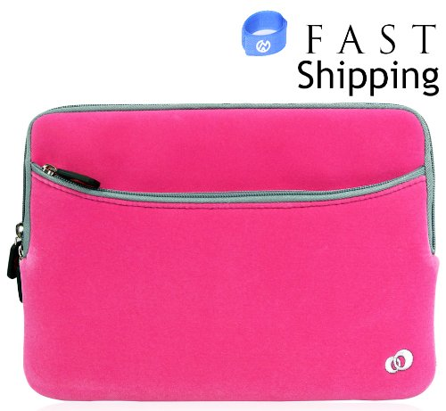 Sony 10.1 inch netbook Sony VAIO VPC-W111XX Pink Microfiber Sleeve with Fa Pocket