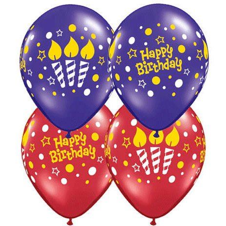 "11"" Birthday Lit Candles Around Balloons (10 ct) Latex (10 per package)"