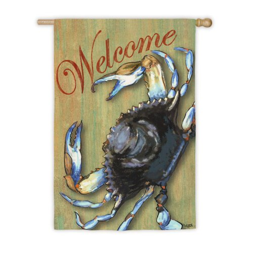 Blue Crab Welcome Garden Flag