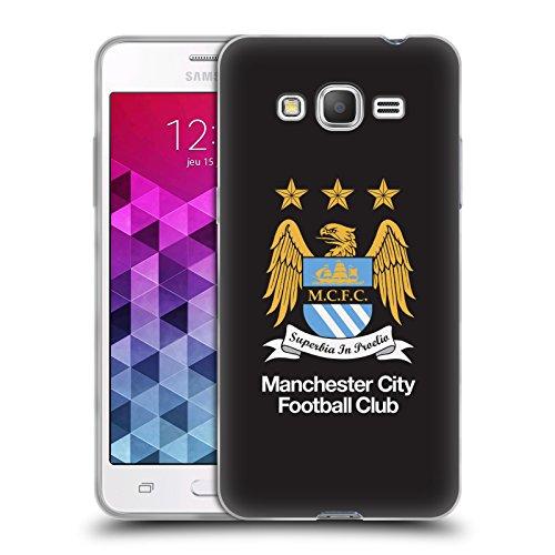 Ufficiale Manchester City Man City FC Intero colore nero Crest Cover Morbida In Gel Per Samsung Galaxy Grand Prime