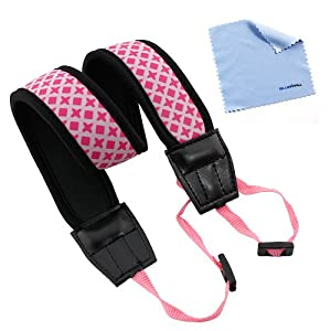 BIRUGEAR Pink Anti-Slip Soft Neoprene Camera Shoulder/Neck Strap Belt for Canon EOS SL1 T5i T4i T3i T3 T2i; SX510 HS, SX50 HS, G15; Nikon P7800, P600, P530, P520, P510, L830, L820, L810, Df, D3300 D5300, D610, D750, D7100, D5200, D3200, D600, D800 or any other Pentax Sony Fuji Olympus Panasonic SLR Cameras *with Cleaning Cloth*