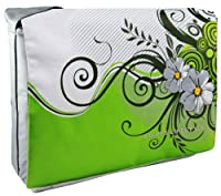 Green Floral Garden 15.4 inch Laptop Padded Compartment Shoulder Messenger Bag for K-Cliffs Lifestyle by MyGift