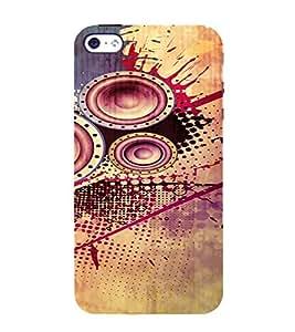 PrintVisa Modern Art Speaker Bass Design 3D Hard Polycarbonate Designer Back Case Cover for Apple iPhone 4 :: 4S