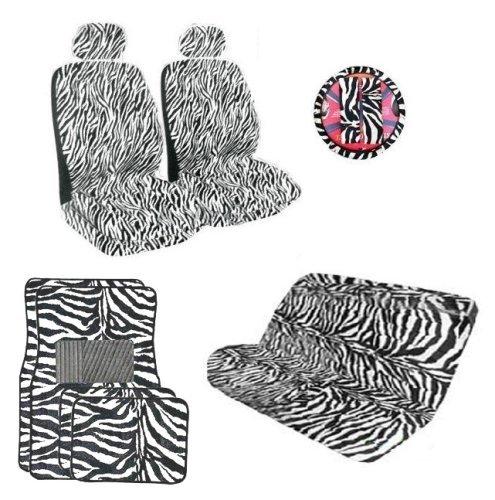 buy cheap 12 piece safari zebra animal print auto interior gift set automotive purchase price. Black Bedroom Furniture Sets. Home Design Ideas