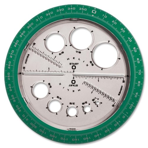 Helix - Angle/Circle Maker, Protractor/Compass, 360 Degrees, Sold As 1 Each, Hlx 36002