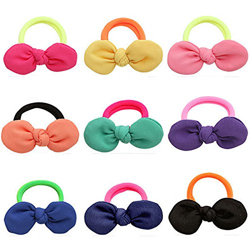 Cute Hair Ties J-MEE 3D Bows No Damage Hair Accessories Rubber Bands Hair Ribbons for Girls (9 Pairs)