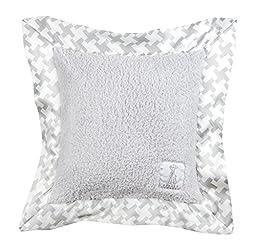 Little Giraffe Chenille Hounds Tooth Pillow, Silver