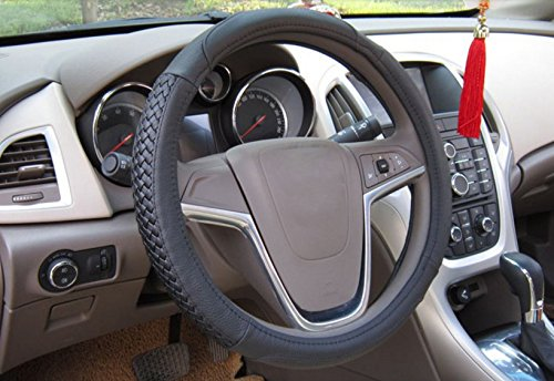 Black Color Best Quality Genuine Leather Steering Wheel Covers 15