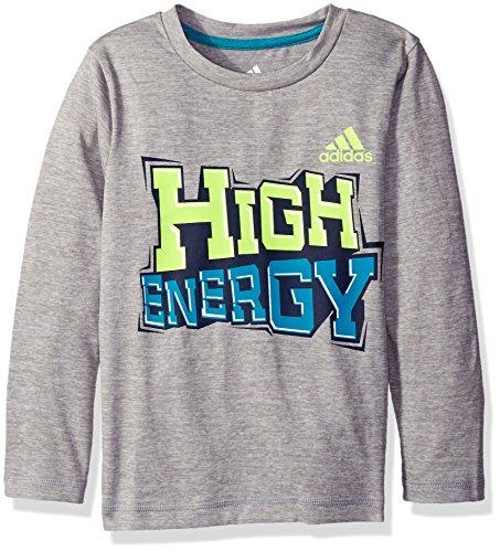 Adidas Boys' Little Boys' High Energy Tee, Grey/Yellow, 7