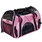 Super buy Large Pet Carrier OxFord Soft Sided Cat/Dog Comfort Travel Tote Shoulder Bag (Pink)