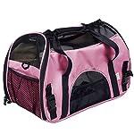 Super buy Large Pet Carrier OxFord Soft Sided Cat/Dog Comfort Travel Tote Shoulder Bag (Pink)