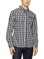 SCOTFREE Camisa Hombre (Marrón / Blanco / Azul)