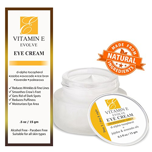 Natural Vitamin E Eye Cream for dark circles & under eyes treatment. Reduce puffy bags, remove wrinkles & fine lines & soften crow's feet. Best antiaging moisturizer cream for brightening & hydrating. (Erythromycin Cream compare prices)