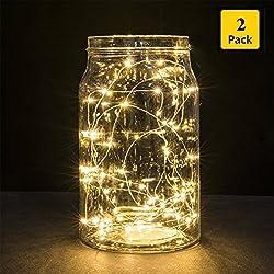 B-right® 30er Micro LED Lichterketten mit Batterie, Dekoration für Terrasse, Garten, Schlafzimmer, Weihnachtsfest, Hochzeit (Warmweiß 2er Pack)