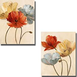 Poppy Palette I & II by Nan 2-pc Premium Stretched Canvas Set (Ready-to-Hang)