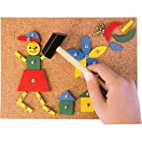Tap Tap Art Cork Board Wooden Pieces Hammer and Nail 3+