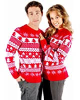 Mens Ladies Christmas Xmas Jumper Sweater Unisex Dress Tunic Rudolph Reindeer Nordic Knitted Fairisle Classic Retro Vintage Novelty By Catch 22