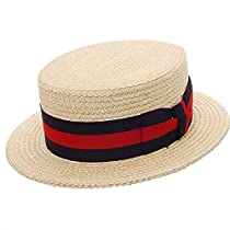 DelMonico Boater Straw Hat - Natural - 58
