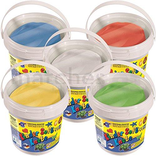 Feuchtmann KNETEIMER SET Kinder Soft Knete Knetmasse 3,5 kg 5 Farben in wiederverschließbaren Eimern mit Tragegriff