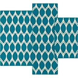 Mainstays Sheridan Ogee 3-piece Accent Rug Set (Color: Teal) 100 percent olefin