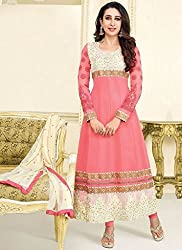 JJR Store Designer Peach Net Embroidered Dress material