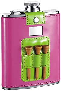"Visol ""Pink and Lime"" Patent Leatherette Stainless Steel Hip Flask, 6-Ounce, Green"