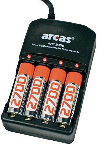 Arcas aRC 2009 batterie chargeur de batterie-chargeur pour 4 piles aA ou piles mICRO aAA r3 r6 aA ni-mH et ni-cd 4 x aA 2700mAh = 10800mAh