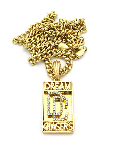 "Rhinestone Dc Dream Chasers Micro Mirror Pendant With 24"" Cuban Chain Necklace - Gold-Tone Xz96Gcc"