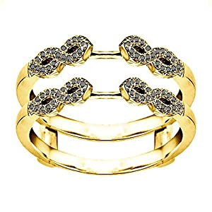 0.38CT Black Cubic Zirconia Infinity Ring Guard Enhancer set in Yellow Plated Sterling Silver (0.38CT TWT Black Cubic Zirconia)