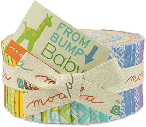 Moda From Bump to Baby Jelly Roll, 40 2.5x44-inch Cotton Fabric Strips