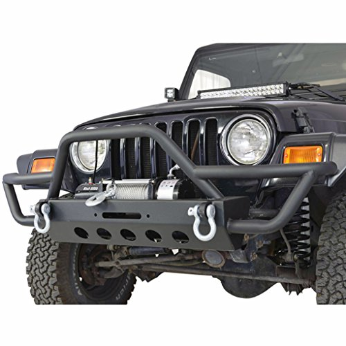 E-Autogrilles TJ YJ Jeep Wrangler Black Textured Front Bumper with Winch Plate and D-Rings